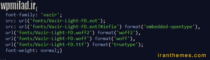 کد css تغییر فونت قالب وردپرس