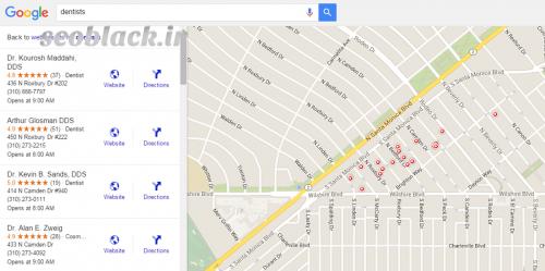 نتایج Google Maps براساس رتبه بندی