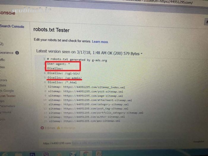 ارور submitted url blocked by robotstxt